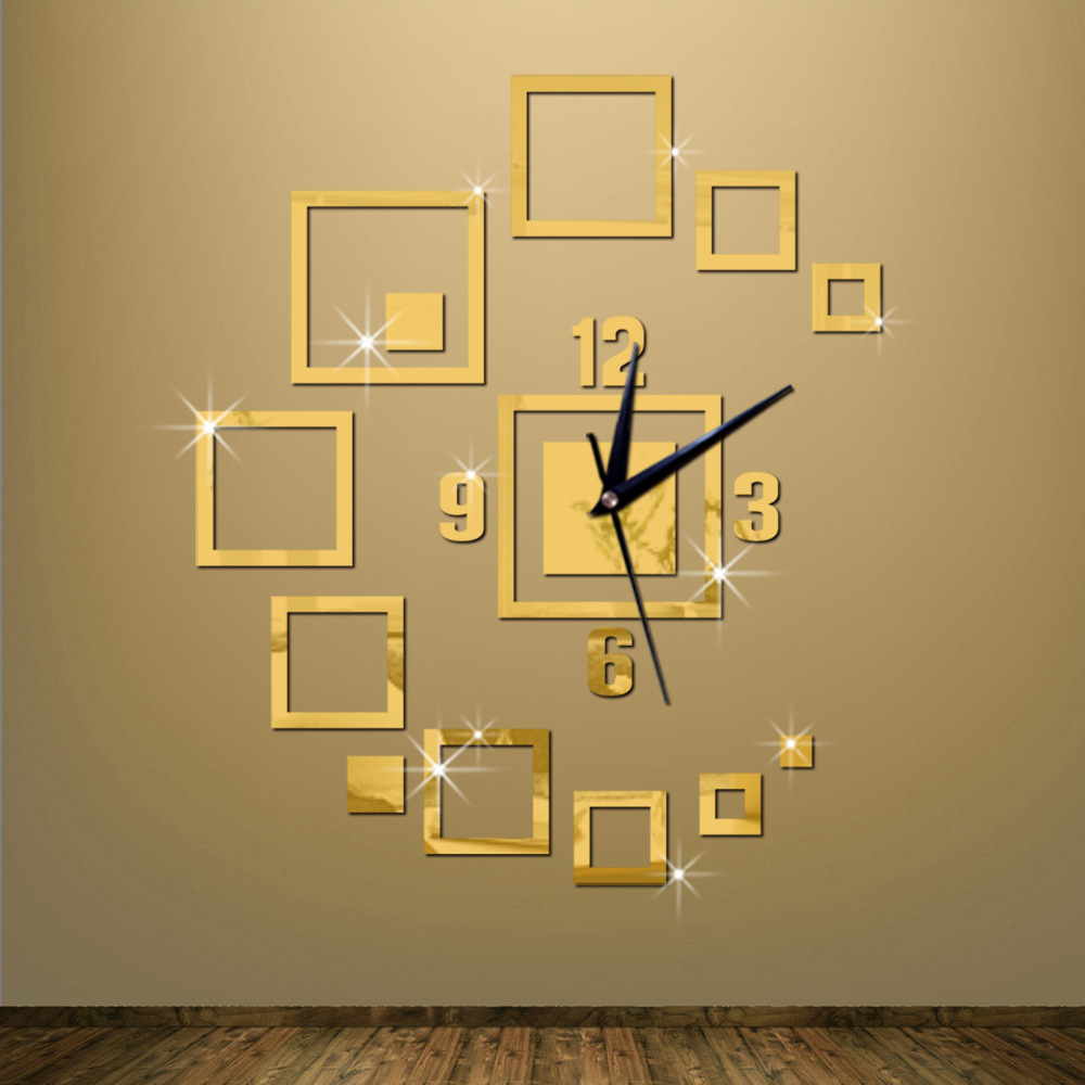 Hot Sale Diy creative mirror wall clock square clock 3d diy Acrylic mirror Stickers sitting room bracket Modern Home Decoration(China (Mainland))