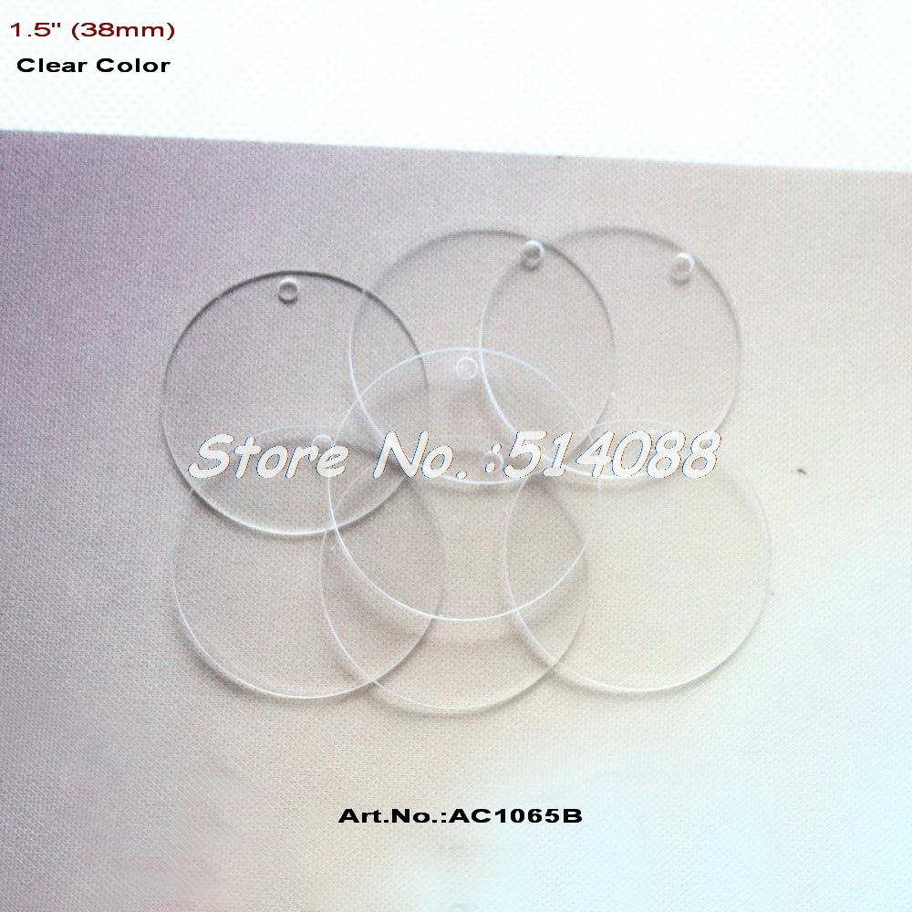 """(40pcs/lot) 38mm One Hole Clear Blank Acrylic Keychains Discs Earrings Round Circle Necklace Disk Bulk Laser Cut 1.5"""" -AC1065B(China (Mainland))"""