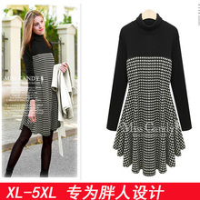 326 XL- 5XL plus size Vestidos 2015 Women Fashion Vintage Bow Swallow Gird Plaid Casual Long Sleeve Black Winter Dresses(China (Mainland))