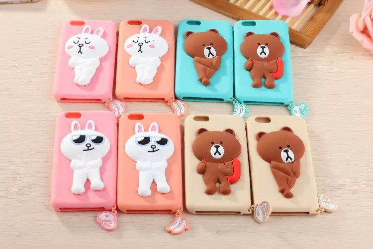 New Arrival Free Shipping 3D Cartoon Lovely Line Bear Phone Cover Soft Silicone Back Case For iPhone 6 6 plus 4.7 5.5 inch(China (Mainland))