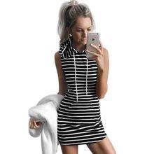 Summer Sport Dress Women Slim Hooded Dress 2016Sleeveless Striped Pullover Pocket Dresses Sport Mini Pencil Dresses Summer Beach(China (Mainland))
