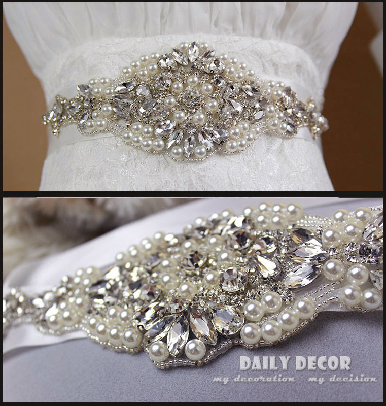 Rhinestone pearls bridal belt bride girdles sashes Cinturones de novia Cintos de noiva Accessories for wedding dress(China (Mainland))