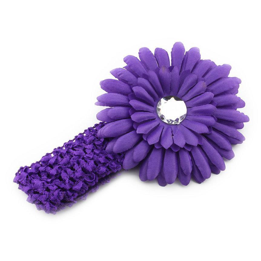 Children Toddler Baby Girl Crochet Beautiful Lovely Purple Daisy Flower Headband Hair Band Elastic Fascinator Baby Headband(China (Mainland))