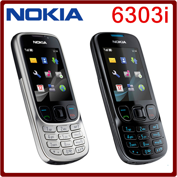 Original unlock NOKIA 6303i mobile phone black and silver color for you choose have russian or arabic keyborad free shipping(China (Mainland))
