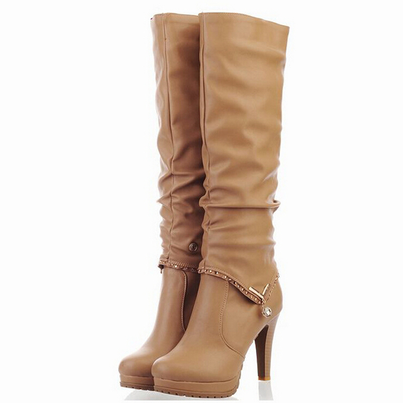 Luxury WOMENS MID CALF BOOTS RIDING BIKER WINTER FASHION ZIP KNEE LENGTH