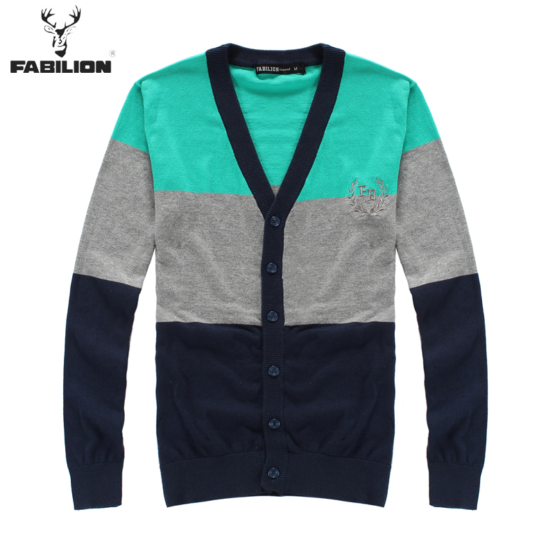 113310021 free shipping FABILION 2015 spring College style winter Tri-color Splice Long sleeve sweaters mens , male cardigans(China (Mainland))