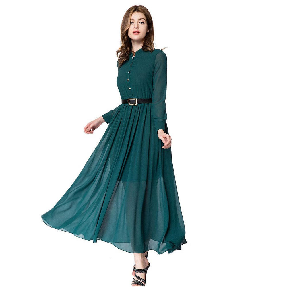 Elegant dark green long party dresses ladies boho chiffon beach dress