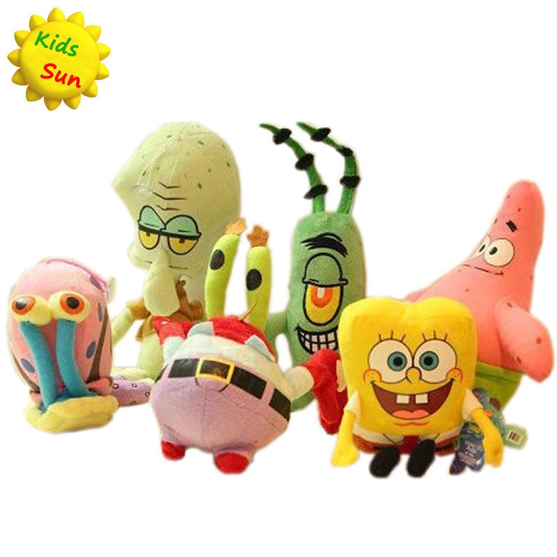 6pcs/set SpongeBob Plush Toys Kids Cartoon Movie Characters Christmas Birthday Gift Toys Stuffed & Plush Animals(China (Mainland))