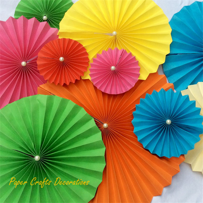 """16"""" (40cm) 10pcs/lot Colorful Paper Wheel Flower Fans a Pearl on Center Accordion Flowers Backdrop for Baby Shower Party Decor(China (Mainland))"""