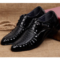 2017 Spring Hot Sale Fashion Men Patent Leather Dress Shoes Pointed Toe Casual Lace up Single