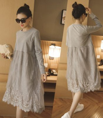 Lace maternity spring one-piece dress basic long loose shirt design maternity spring and autumn long-sleeve top<br><br>Aliexpress