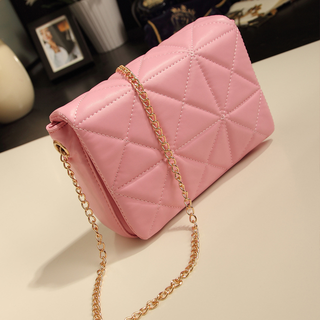 Pink small bags new arrival 2013 small fresh women's handbag one shoulder cross-body bag small fashion plaid chain bag