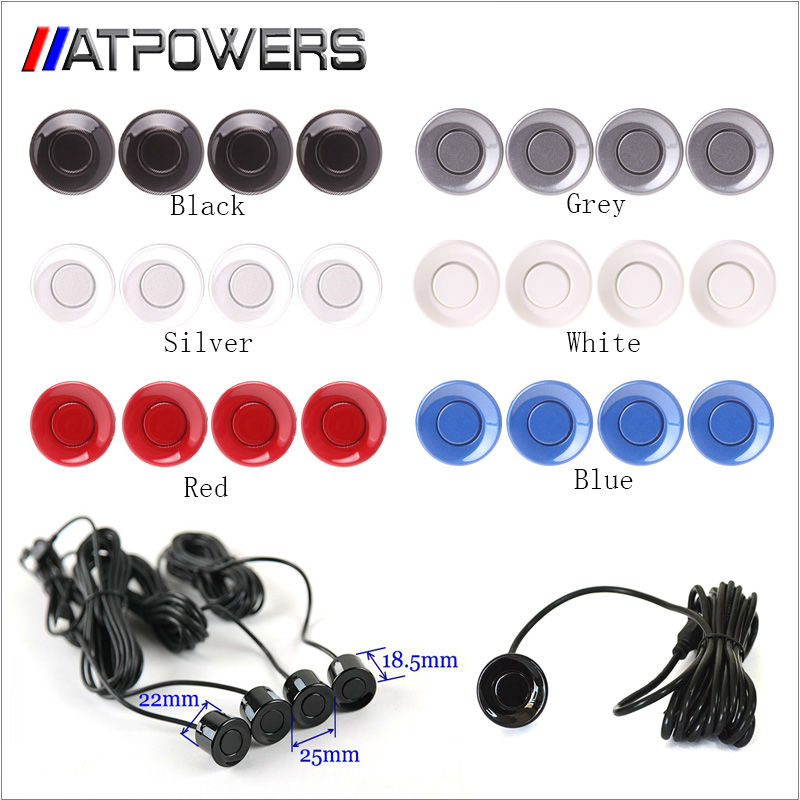 Free shipping 4pcs Assistance Reversing Radar Rrobe Parking Sensors black blue gray red white silver For all car(China (Mainland))