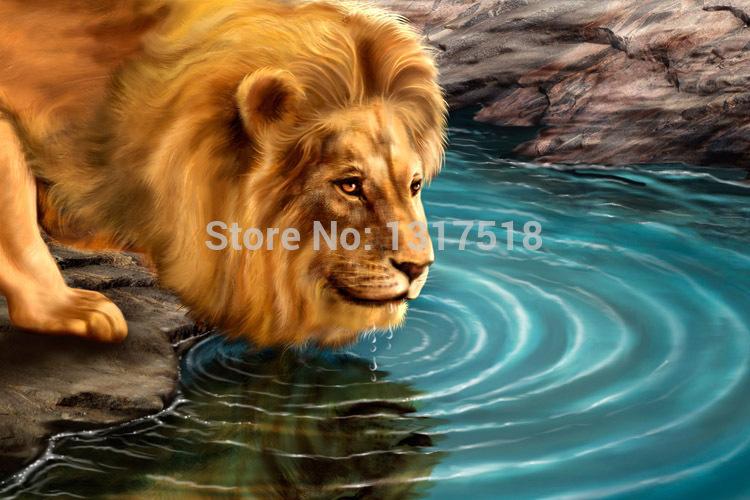 Wedding Room Decor Best Lion Drinking Water DIY poster(China (Mainland))