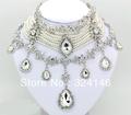 2016 European style Luxurious Macrame Rhinestone Bridal Jewelry Set Pearl Jewelry sets For Women Wedding jewelry