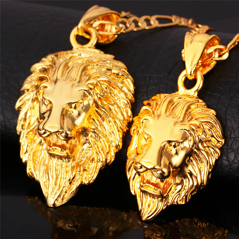 Hip Hop Gold Necklace Men Women Jewelry Figaro Chain Vintage Platinum 18K Real Gold Plated Big Lion Head Pendant Necklace P215(China (Mainland))