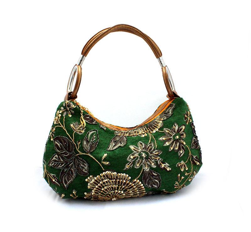 Hot Selling Retro Women Handmade Beaded Handbag Leisure Tote Bag Lady Vintage Embroidery Flower Corduroy Wristlets Bags 0598(China (Mainland))