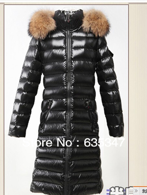 Hot Brand fashion designer womens Moka Parka jacket coat 14 cases Hooded Big real raccoon fur X-Long Windproof warm black - Crise Lin's store