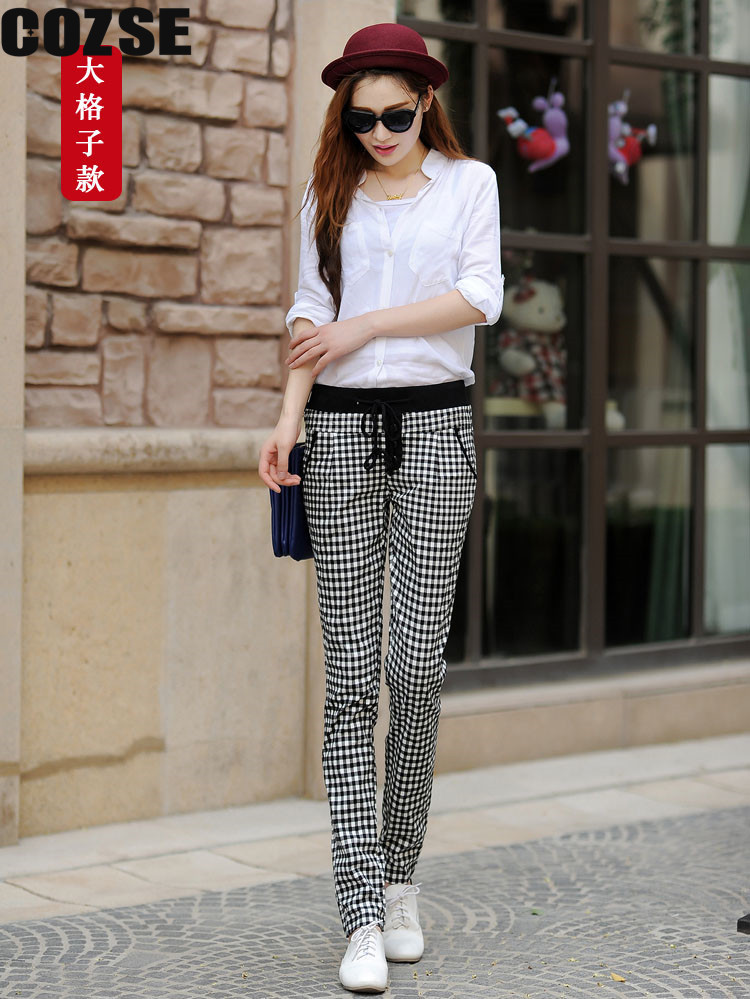 2014 New Slim Style Women Black and White Plaid Harem Pants Korean Casual Style Women Trousers ...