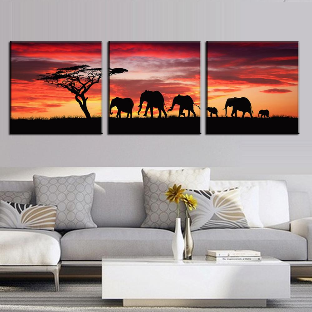 3 piece african wall art for Set of three canvas paintings
