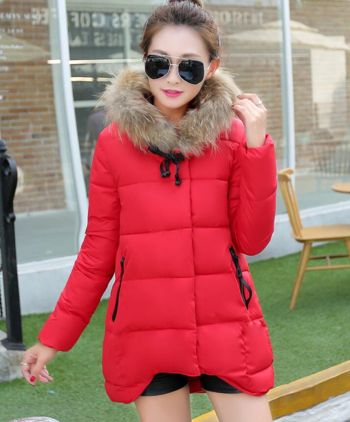 Desigual Thick Fur Collar Parka New Winter Jacket Women 2015 Solid Hooded Jackets Coats Long Coat Manteau Femme