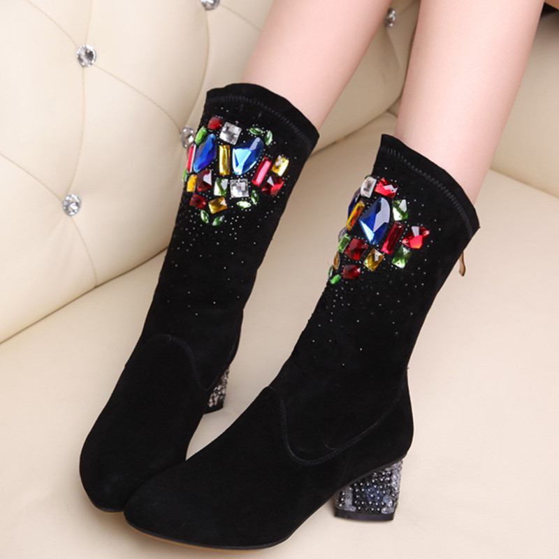 New arrival fashion mid calf boots simple style med heels genuine leather boots popular rhinestoe autumn winter fashion boots<br><br>Aliexpress