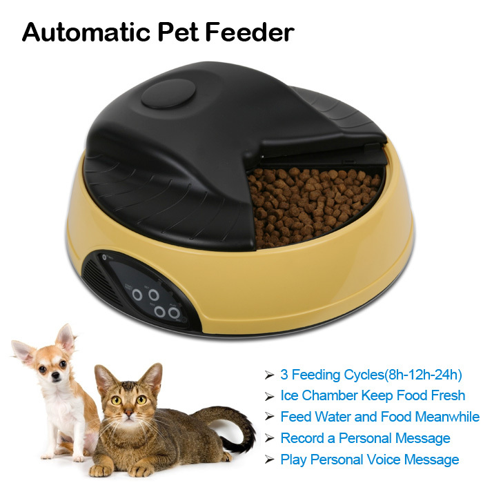Dry/Wet Food Available LCD Display Ice Chamber Cat Feeding Bowl Record Pet Automatic Digital Timer Feeder(China (Mainland))