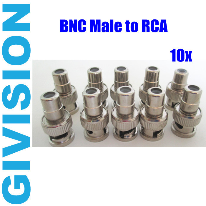 10pcs cctv BNC Male to RCA Female Coax Cable Connector Adapter F/M Coupler for CCTV security Camera system(China (Mainland))