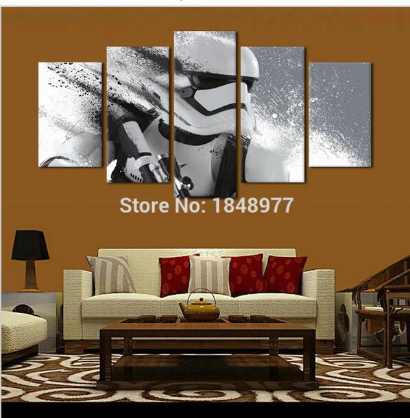 5 Piece cuadros decoracion stormtrooper star wars movie poster oil painting on canvas home decoration canvas wall art print(China (Mainland))