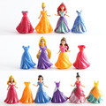 9CM Princess Snow White Cinderella Mermaid Action Figure Set With Magic Clip Dress Best Kids Girls