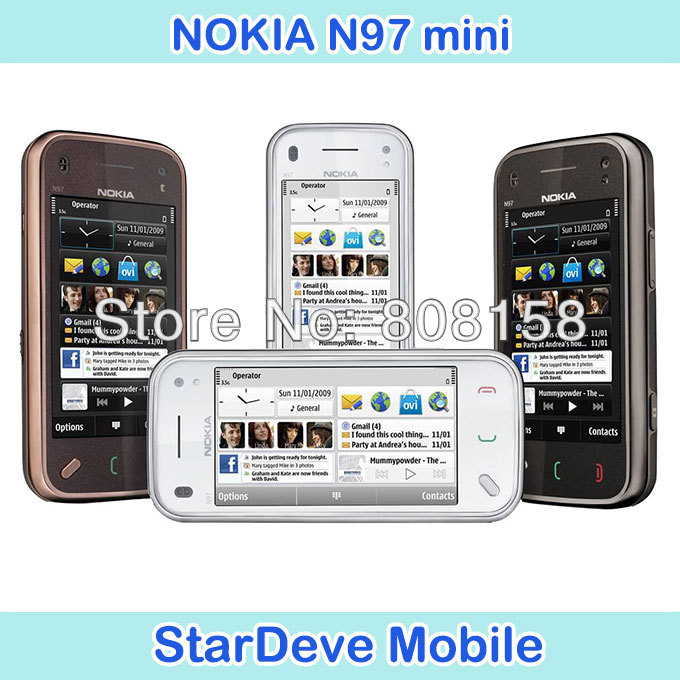 Original N97 Mini Nokia Mobile Phone Camera 5MP Storage 8GB GPS WIFI Bluetooth Unlocked N97 mini(China (Mainland))