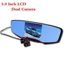 Free Shipping!!5.0 Inch LCD Car DVR Mirror Dual Camera AR0330 Sensor 6G Lens Full HD 1080P+Night Vision Rearview Camera Dash Cam(China (Mainland))