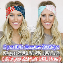 New American Flag Headband 4th of July USA Turban Stretch Headbands Bandana Turbante Hair Accessories Free Shipping A0394(China (Mainland))