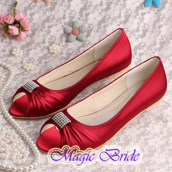 Handmade Crystal Ballerina Flat Party Wedding Shoes Bridesmaid Wine Red Satin Open Toes(China (Mainland))