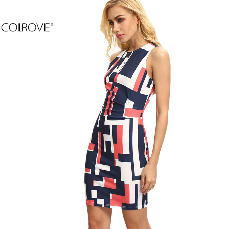 COLROVE Summer Style Fitness Geometric Print Women Sexy Bodycon Dresses Casual 2016 New Multicolor Sleeveless Slim Dress(China (Mainland))