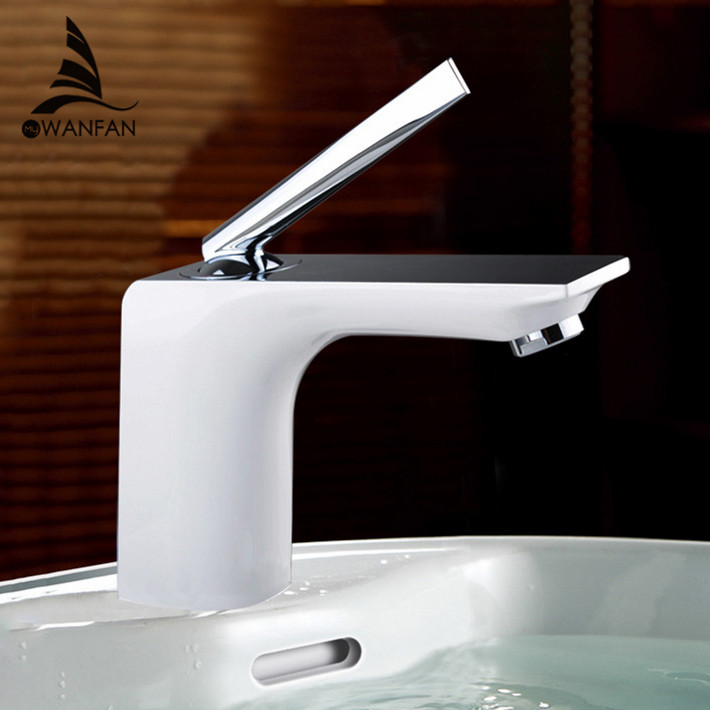 Brass Bathroom Single Handle Mixer Tap Chrome Finished: Free Shipping Bathroom Faucet Grilled White Paint Chrome