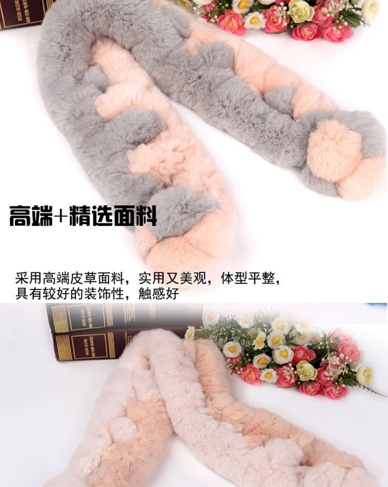 Fur Scarf 2017 Autumn And Winter Real fur Scarves Natural Rabbit Scarf With Ball Pele scarves cachecol bufandas mujer