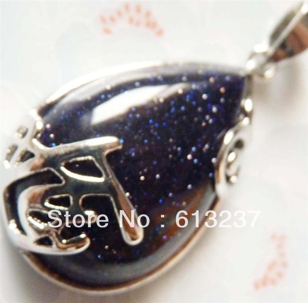 hot free Shipping new 2014 Fashion diy Attractive 20x30mm Galaxy Blue Sand Waterdrop Pendant MY4776(China (Mainland))