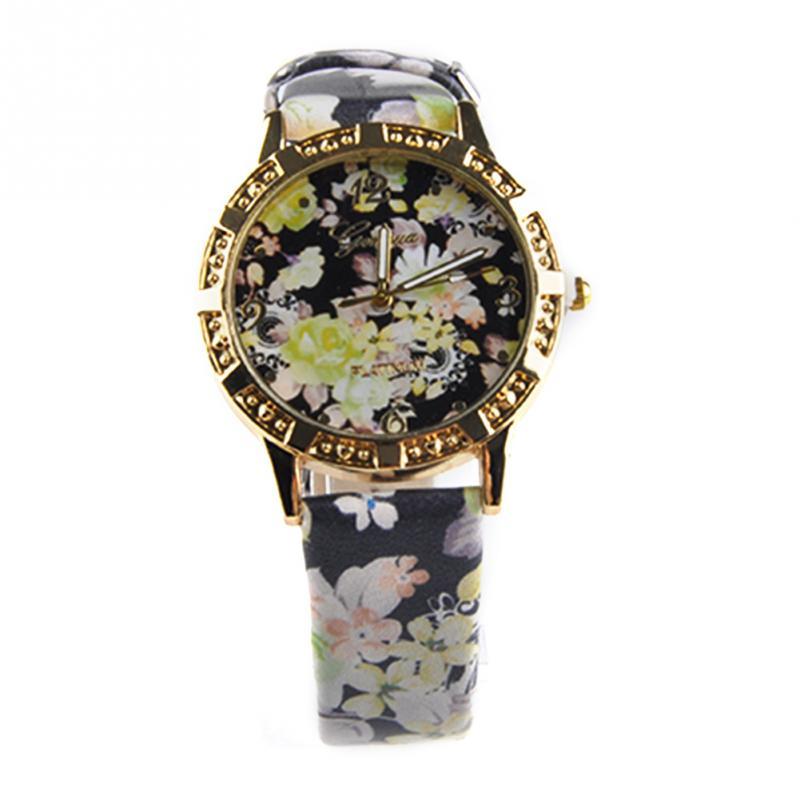 Women Casual Watch Multicolor Floral pattern Flower Quartz Watch Ladies Women Girls Elegant PU Leather Wristwatch Relogio(China (Mainland))