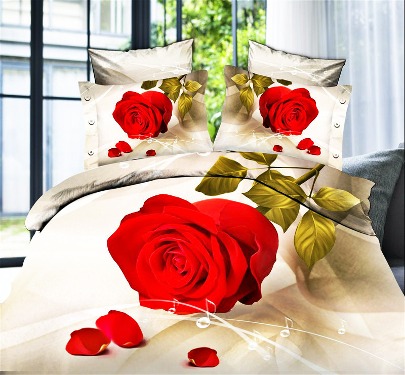 2016 Fashiong Nice Night Roupa De Cama 3d Bedding Set Red Rose Flower Bed  Sheets Sale Price Exquisite Gift Giving Rose Flower Bed 3d Bedding Set  Bedding Set ...