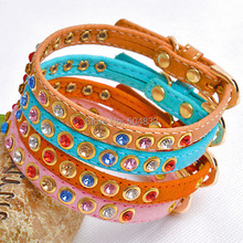Bling crystal dog puppy cat collar soft leather pets collar with colorful rhinestones 4colors(China (Mainland))
