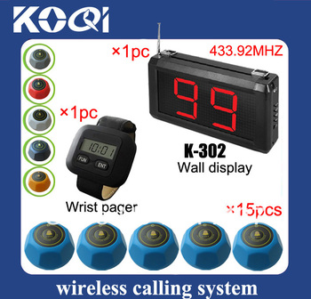 Nice 433.92mhz golf shop pager system w LED receiver and watch pager and 433mhz waiter bell call waiter K-302+300+M DHL free