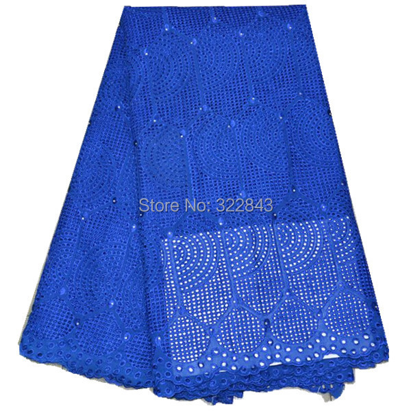 Free shipping African swiss voile lace high quality.wedding lace African Fabric 5y/lot 100% Cotton Swiss Voile Lace blue color