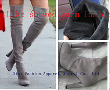 Fashion suede leather Black gery chunky heel vintage boots women over the knee boots stretch Silm fit high heel thigh high booty(China (Mainland))