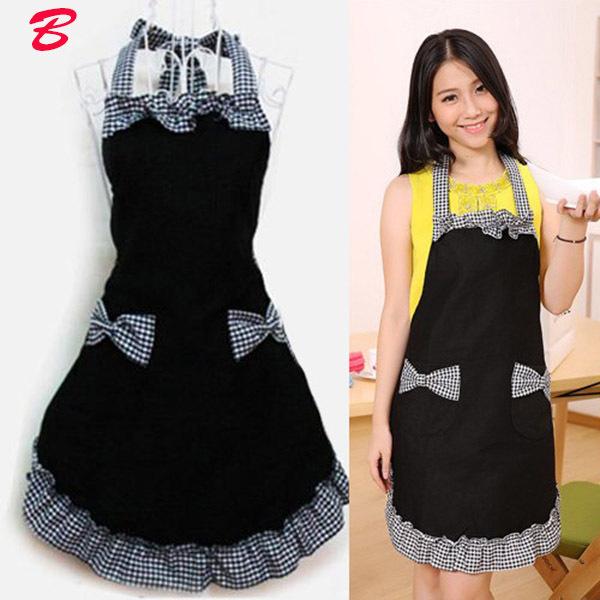 New Cute Vintage Flirty Womens Bowknot Kitchen Bib Apron Dress with Pocket Gift(China (Mainland))
