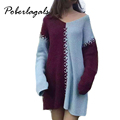 2016 Womens winter autumn Fashion V neck deep strapless stripe hit color loose Knitted Sweater Women