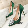 Women shoes brand female Cinderella diamond slipper red gold High heeled shoes thin heels pointed toe