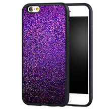 purple GLITTER Printed Soft Rubber Skin Mobile Phone Cases Accessories For iPhone 6 6S Plus SE 5 5S 5C 4 4S Back Shell Cover