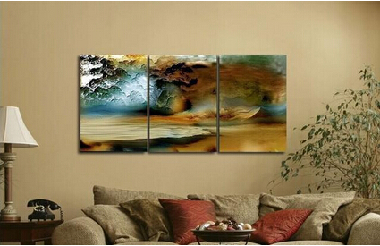 Discount 3 Piece Canvas Thunderstorm Modern Abstract Large Cheap Wall Art Of Oil Painting For Sale