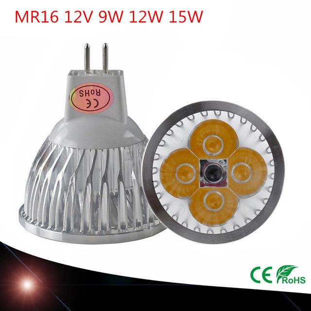 1PCS High power chip LED bulb MR16 9W 12W15W 12V Dimmable Led Spotlights Warm/Cool White MR 16 base LED lamp(China (Mainland))